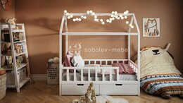 Кроватки - Кровать домик с ящиками, 0