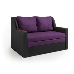 Диваны и кушетки - Диван-кровать «Дуэт» экокожа черная и фиолетовая…, 0