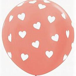 Украшения для организации праздников - Шар 1м, розовое золото в сердечки, 0