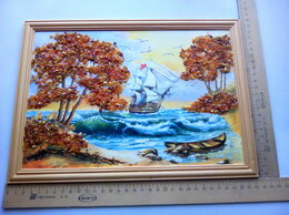 Картины, постеры, гобелены, панно - картина, панно  с янтарём .Парусник .1995 .…, 0