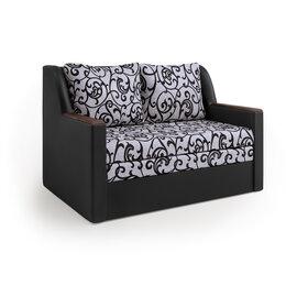 Диваны и кушетки - Диван-кровать «Дуэт» экокожа черная и узоры, 0
