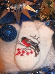 Перчатки и варежки - Варежки с орнаментом шерстяные , 0