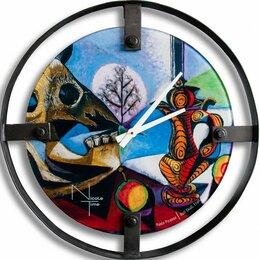 Часы настенные - Часы настенные стеклянные 61 см синие Picasso Loft, 0