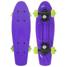 Скейтборды и лонгборды - Скейтборд 42 х 12 см, колеса PVC 50 мм, пластиковая рама, цвет фиолетовый, 0