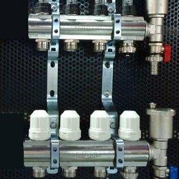 Коллекторы - Нержавеющий коллектор с расходомерами на 4 выхода для водяного теплого пола, 0