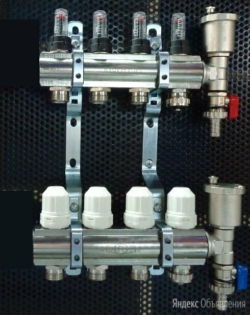Нержавеющий коллектор с расходомерами на 4 выхода для водяного теплого пола по цене 4100₽ - Коллекторы, фото 0