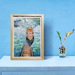 Картины, постеры, гобелены, панно - Картина в раме лодка вода озеро акварель, 0