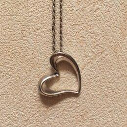 Кулоны и подвески - Кулон сердце, цепочка. Серебро, 0