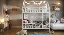 Кроватки - Двухьярусная кровать домик, 0