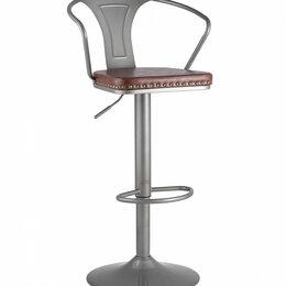 Стулья, табуретки - Стул барный со спинкой и подлокотниками серебристый Tolix Arms Soft, 0