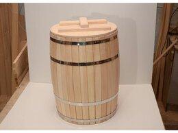 Бочки, кадки, жбаны - Бочка деревянная гнутая с крышкой 90 л (без гнета), 0