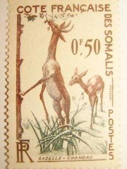 Марки - Марка Французская колония Африка Сомали газель…, 0