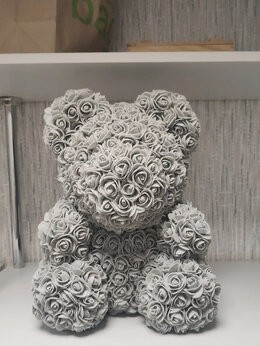 Мягкие игрушки - Мишка из Роз 40 см из фоамирана Серый , 0