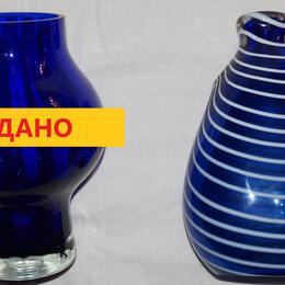 Сервизы и наборы - Посуда синее стекло (СССР) подарки: ваза,салатник, 0