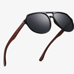 Очки и аксессуары - Очки-авиаторы с деревянными дужками, 0