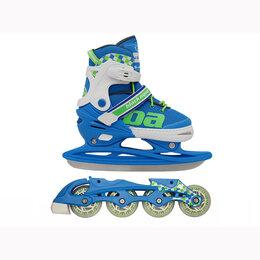 Обувь для спорта - Ролики+ Коньки 2в1 BlackAqua RT ХS 27-30р голубой-салатовый, 0