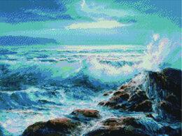 Картины, постеры, гобелены, панно - Алмазная мозаика Шторм у каменистого берега 40*50, 0