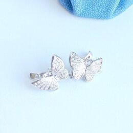 Серьги - Новые серьги Бабочки серебро с фианитами, 0