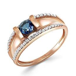 Кольца и перстни - Кольцо с топазом и 38 фианитами из красного золота, 0
