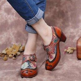 Туфли - Туфли-лодочки бохо из натуральной кожи с пряжкой, 0