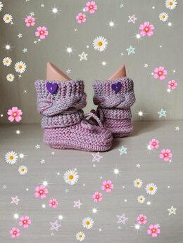 Обувь для малышей - Вязаные детские Ботиночки-Пинетки (ручной работы) , 0