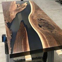 Столы и столики - Стол-река с эпоксидной смолой из массива, 0