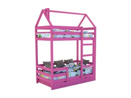 Кроватки - Кровать-домик «SCANDI» Двухъярусная Розовый, 0