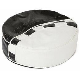 Пуфики - Пуфик круглый мягкий черно-белый Formula, 0