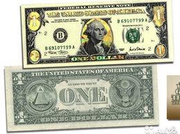 Банкноты - 1 доллар США золотая голограмма, 0