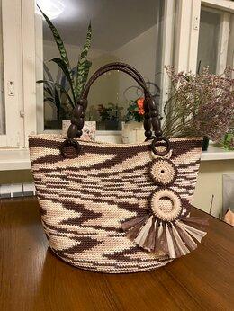 Сумки - Пляжная сумка, Рафия сумка, сумка шоппер, 0
