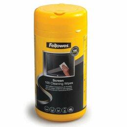 Влажные салфетки - Чистящие салфетки FELLOWES, в тубе, 100 шт.,…, 0