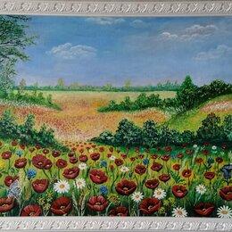 Картины, постеры, гобелены, панно - Авторская картина маслом пейзаж, Маки.  Холст на ДВП 120х72, 0