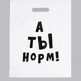 Упаковочные материалы - Пакет полиэтиленовый с вырубной ручкой, «А ты норм!», 31 х 40 см, 60 мкм, 0