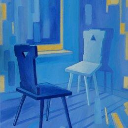 """Картины, постеры, гобелены, панно - Картина """"Синие стулья"""", холст, масло, 50*70 см, 0"""