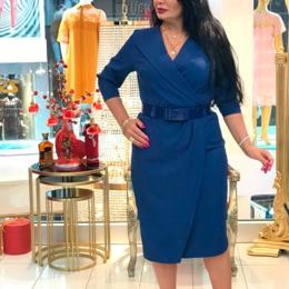 Платья - Платье синее с запахом, 0