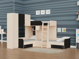 Кровати - Трехместная кровать ТРИО/1 дуб молочный-венге, 0