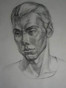 """Картины, постеры, гобелены, панно - Рисунок углем на бумаге """"Портрет молодого мужчины"""", 0"""