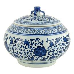 Вазы - Ваза керамическая бело-голубая с крышкой 22 см…, 0