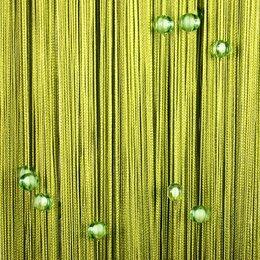 Шторы - Готовая штора из нитей Portgallery с ромбами 3х2.85м оливковая, 0