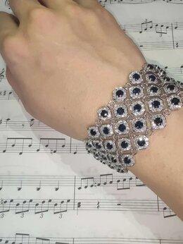 Браслеты - Золотой браслет с бриллиантами и сапфирами , 0