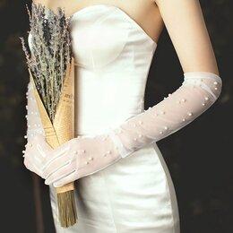 Перчатки и варежки - Перчатки длинные белые с  жемчугом , 0