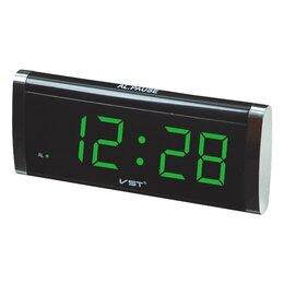 Часы настольные и каминные - Часы электронные сетевые   730-2  (зеленые цифры), 0