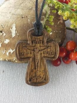 Кулоны и подвески - Крест нательный из дерева резной, 0