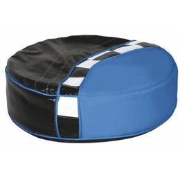 Пуфики - Пуфик круглый мягкий черно-синий Formula, 0