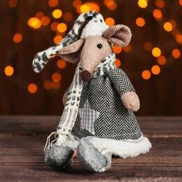 Ёлочные украшения - Мягкая игрушка Мышонок, звезда на свитере, 0