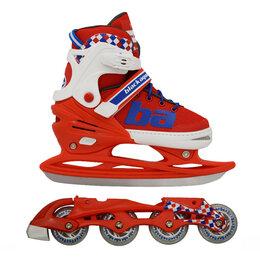 Обувь для спорта - Ролики+ Коньки 2в1 BlackAqua RT  ХS 27-30р красно-синий, 0