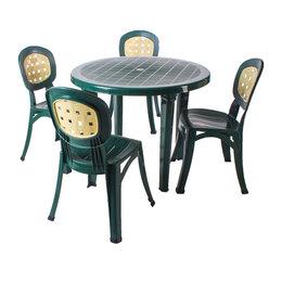 Комплекты садовой мебели - Комплект мебели из пластика с круглым столам Элегия (т.зеленый), 0