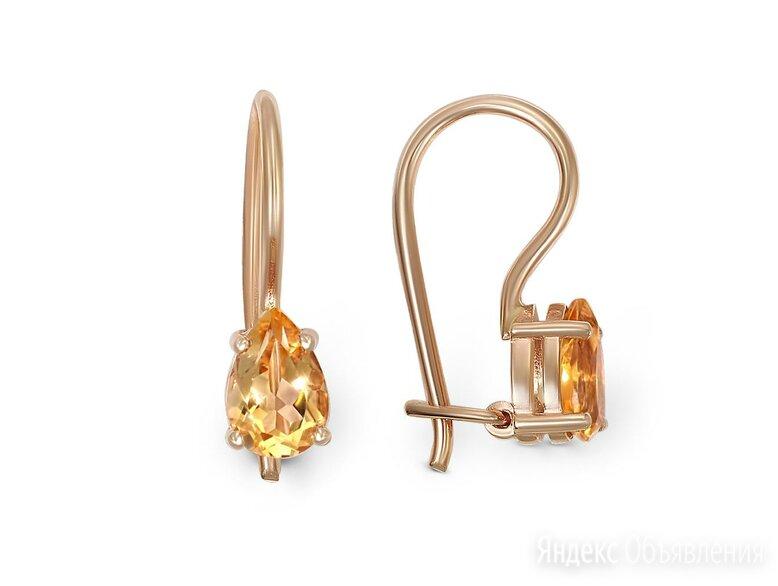 Детские серьги с 2 цитринами из красного золота по цене 8053₽ - Серьги, фото 0