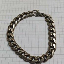 Браслеты - Браслет серебряный широкий тяжелый, 0