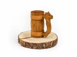 Кружки, блюдца и пары - Кружка из дерева с резной ручкой «Лев» 0,5 л, 0